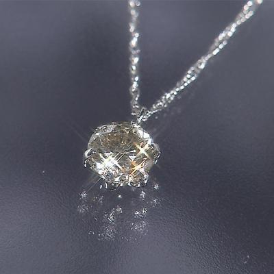松屋銀座外商部 プラチナ0.7ctダイヤ一粒石ペンダント